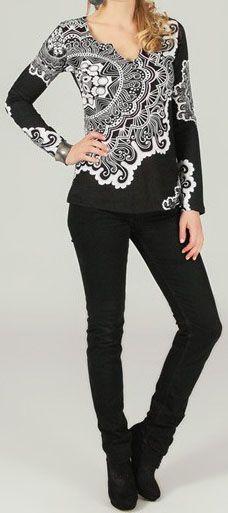 T-Shirt à manches longues imprimé et original Noir/Blanc Gaia 273862