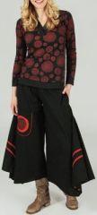 T-Shirt � manches longues imprim� et original Noir/Rouge Isaure 273897