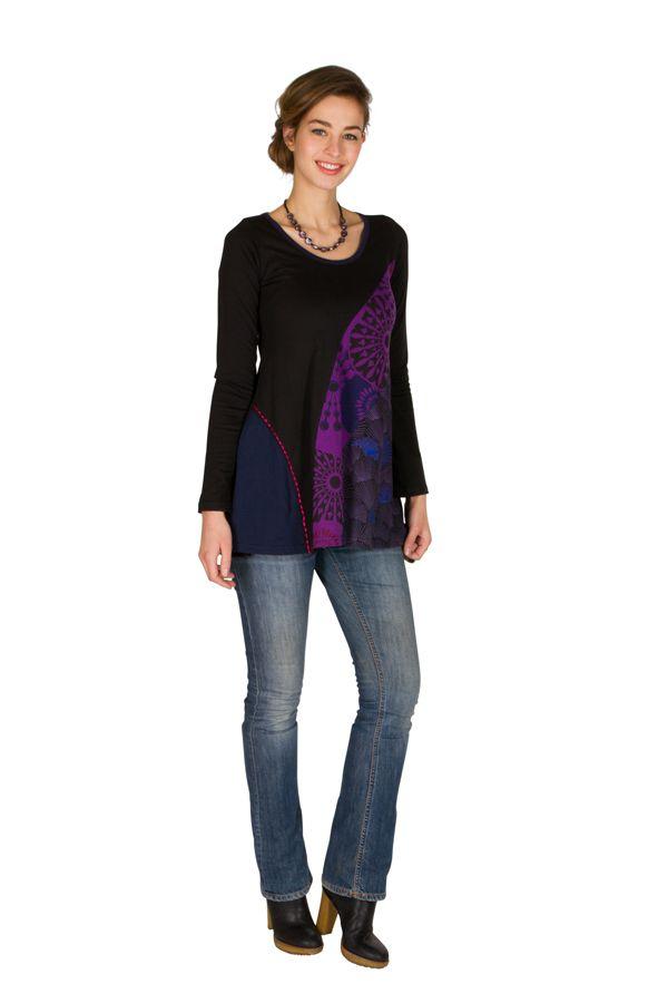 T-Shirt coloré à manches longues Violet féminin à Shah 301488