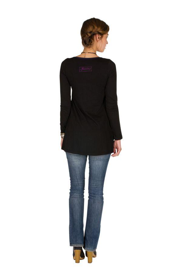 T-Shirt coloré à manches longues Violet féminin à Shah 301490