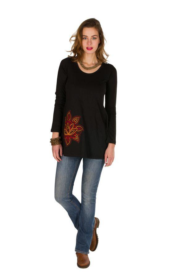 T-Shirt femme en coton Noir coupe droite Gotra 301532