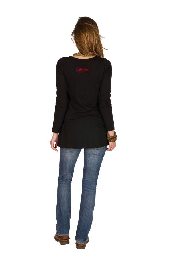 T-Shirt femme en coton Noir coupe droite Gotra 301534