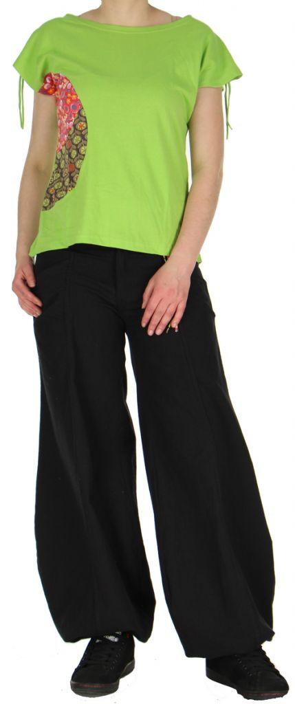 superbe t shirt femme original esprit hippie vert alma. Black Bedroom Furniture Sets. Home Design Ideas