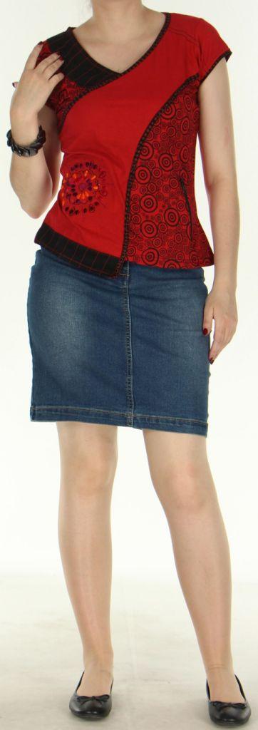 T-Shirt original et ethnique femme Rouge col Noir Huba 272305