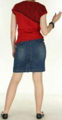 T-Shirt original et ethnique femme Rouge col Noir Huba 272306