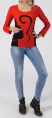 Tee-shirt femme à manches longues ethnique de couleur rouge Amalia