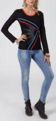 Tee-shirt femme à manches longues original de couleur noir Balbina