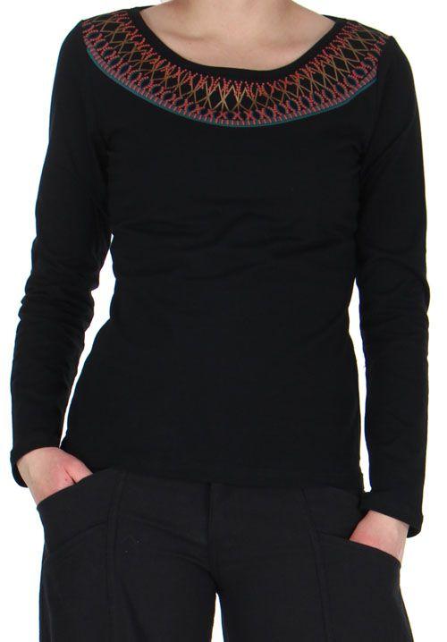 tee shirt femme a manches longues original et amerindien karl noir. Black Bedroom Furniture Sets. Home Design Ideas
