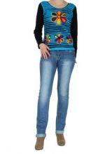 Tee-shirt femme bleu flower 266196