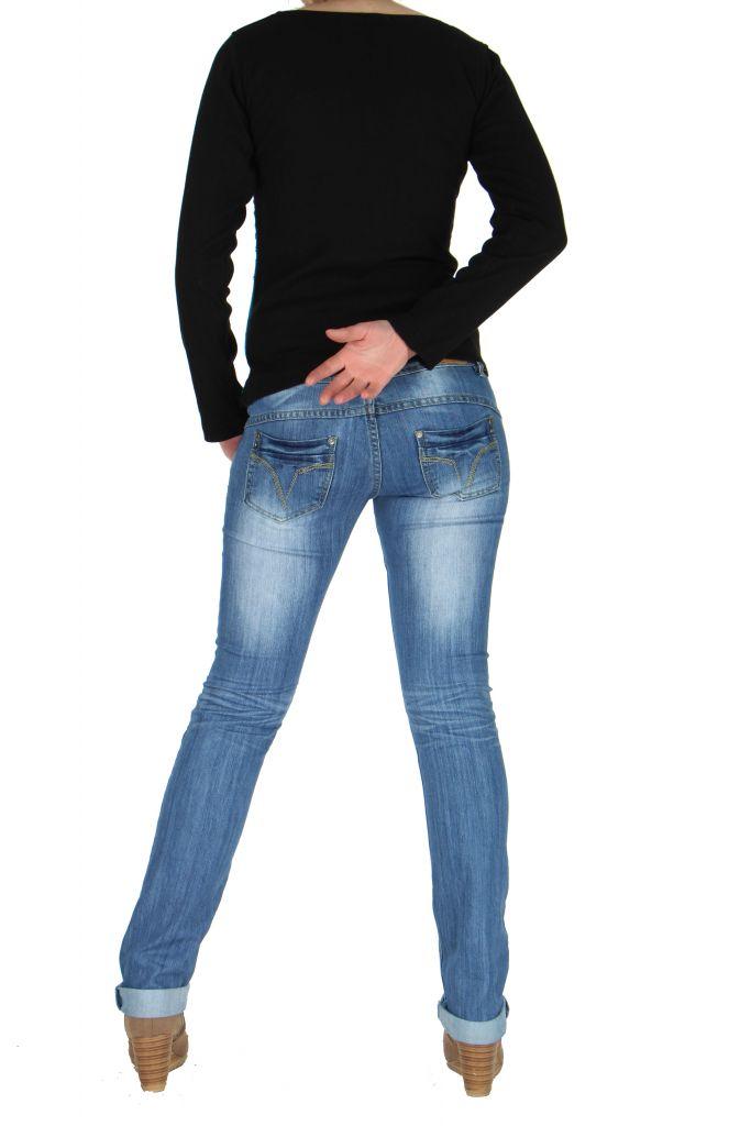 Tee-shirt femme bleu flower 266197