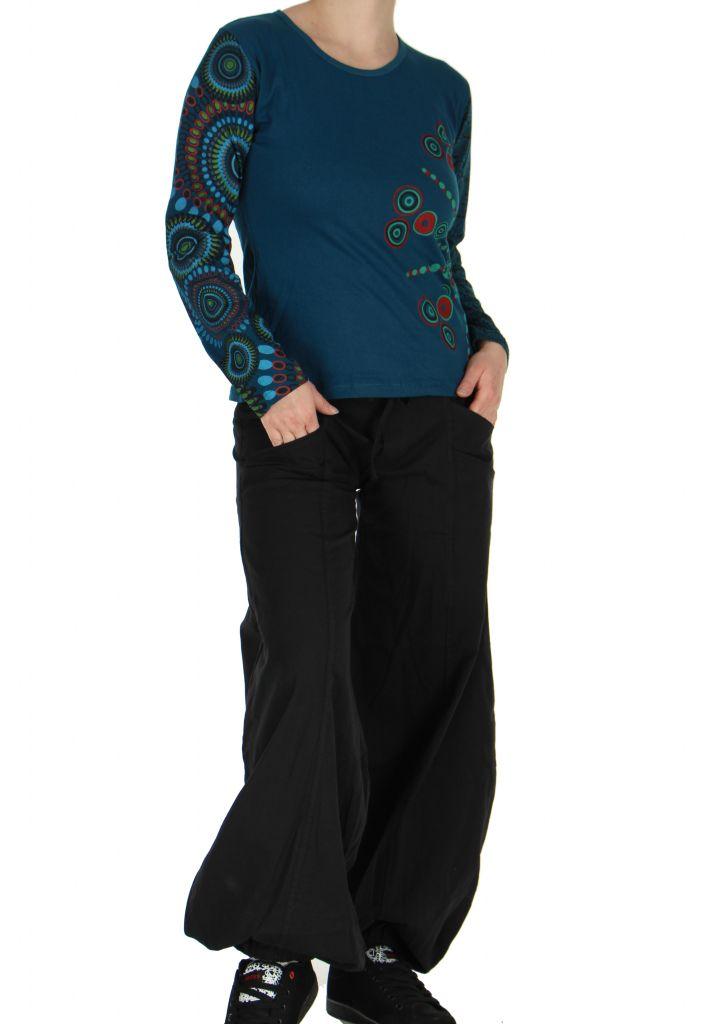 Tee-shirt femme coloré à manches longues bleu Chayni 266676