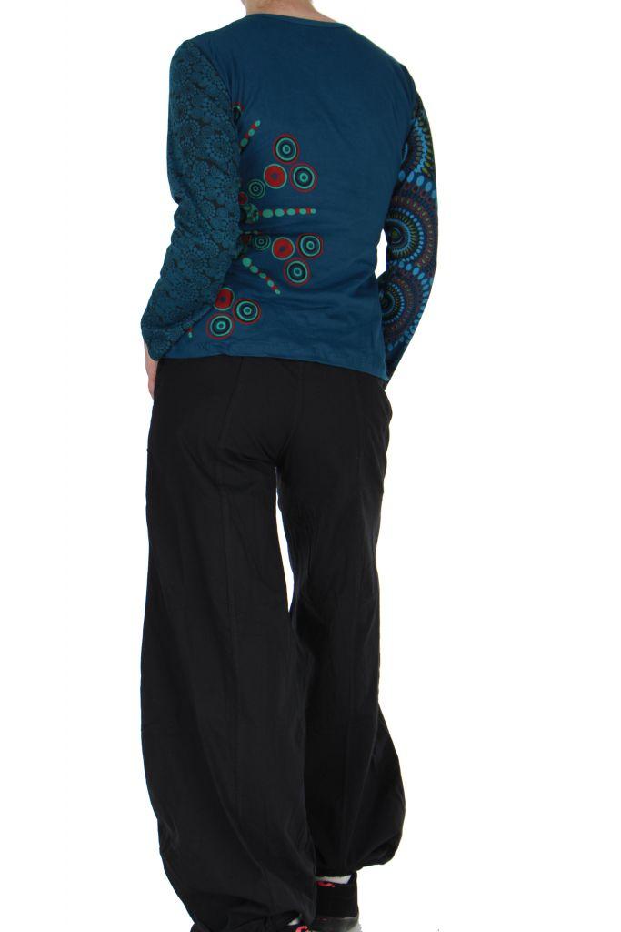 Tee-shirt femme coloré à manches longues bleu Chayni 266677