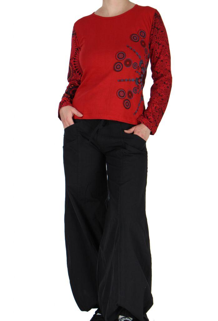 Tee-shirt femme coloré à manches longues rouge Chayni 266680