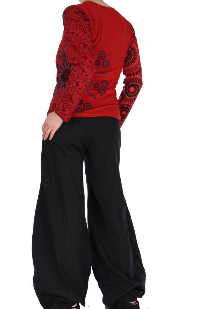 Tee-shirt femme coloré à manches longues rouge Chayni 266681