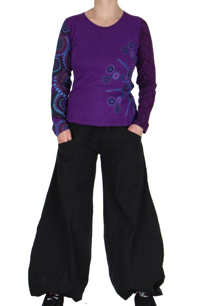 Tee-shirt femme coloré à manches longues violet Chayni 266682
