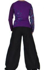 Tee-shirt femme coloré à manches longues violet Chayni 266683
