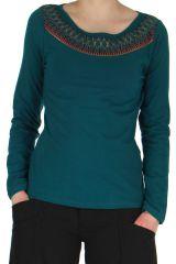 Tee-shirt Femme Original et Amérindien à manches longues Karl Emeraude 279192