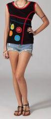 Tee-shirt femme sans manches col rond ethnique Marko 1 270633
