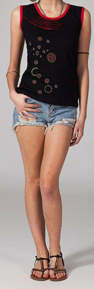 Tee-shirt femme sans manches col rond ethnique Marko 12 270680