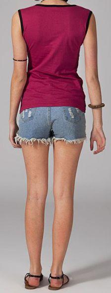 Tee-shirt femme sans manches col rond ethnique Marko 2 270639