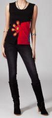 Tee-shirt femme sans manches col rond ethnique Marko 4 270648