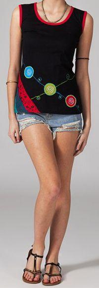 Tee-shirt femme sans manches col rond ethnique Marko 6 270656