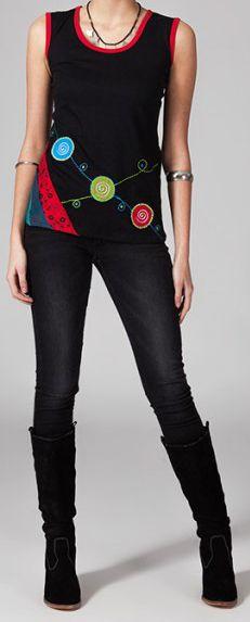 Tee-shirt femme sans manches col rond ethnique Marko 6 270657