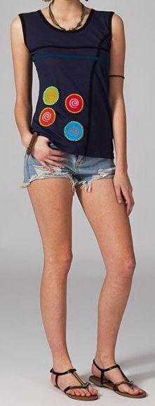 Tee-shirt femme sans manches col rond ethnique Marko 7 270661