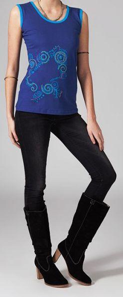Tee-shirt femme sans manches col rond ethnique Marko 9 270671