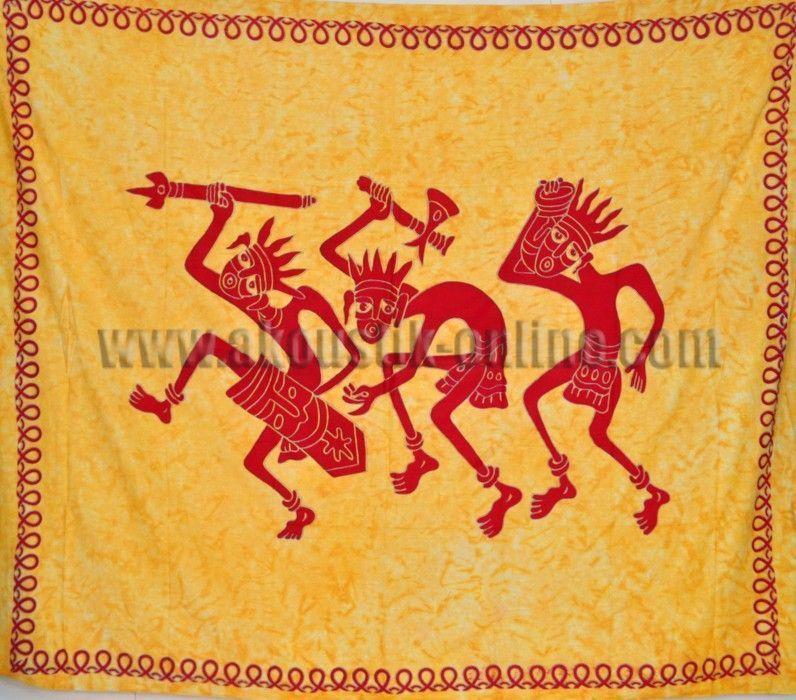 Tenture 3 guerriers jaune 240007