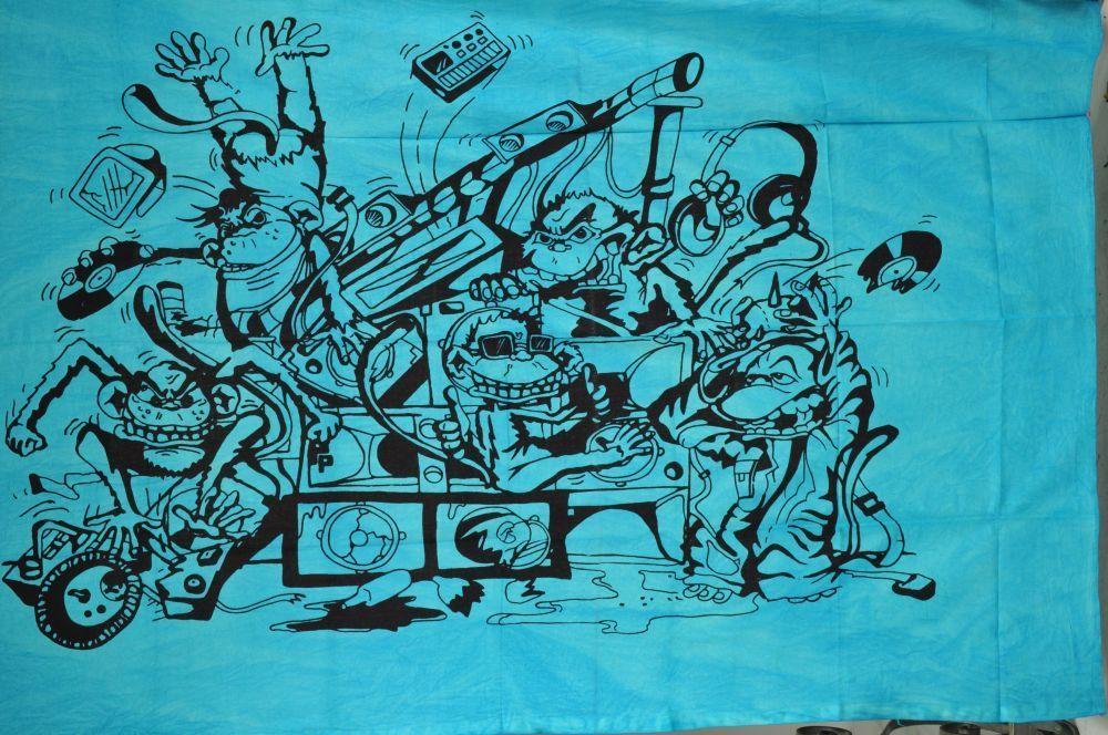 Tenture teuf rave party singe bleu 244627