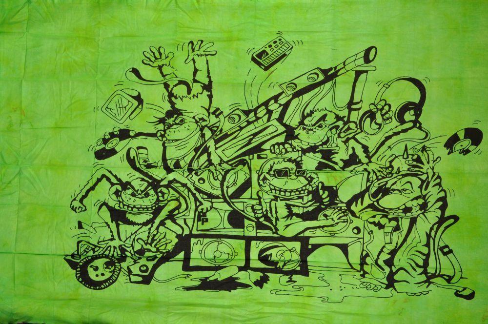 Tenture teuf rave party singe vert 244629