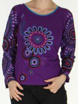 Top à manches longues du Népal Original et Coloré Capri Violet 278208