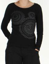 Top � manches longues Ethnique et Color� pour femme Raphael Noir 276298