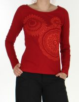 Top à manches longues pour femme Ethnique et Coloré Raphael Rouge 276292