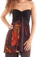 top bustier transformable en jupe ethnique et color carlito marron 282203 - Jupe Colore