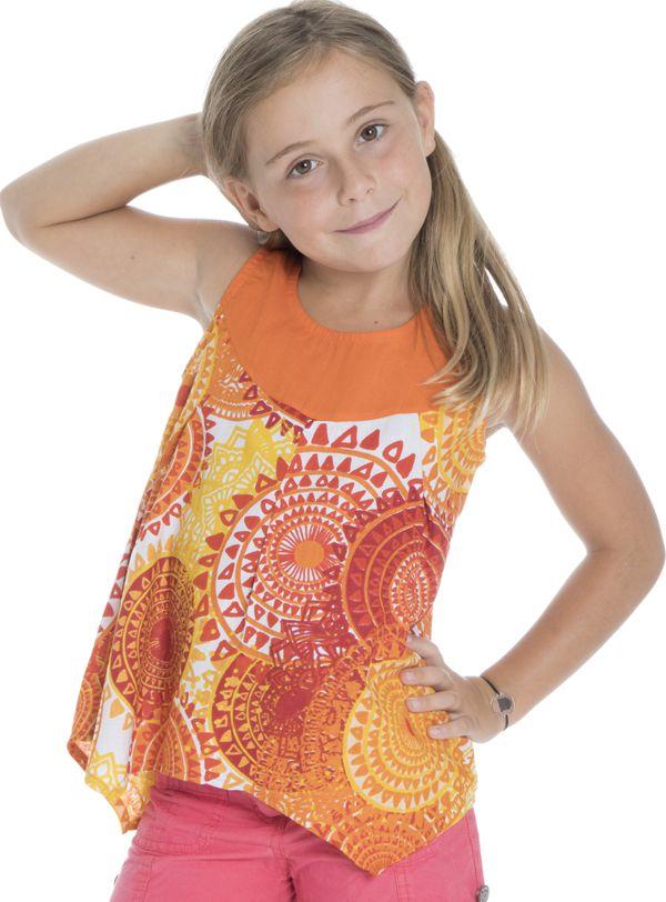 Top débardeur enfant asymétrique original et imprimé Orange Mwaka 294018