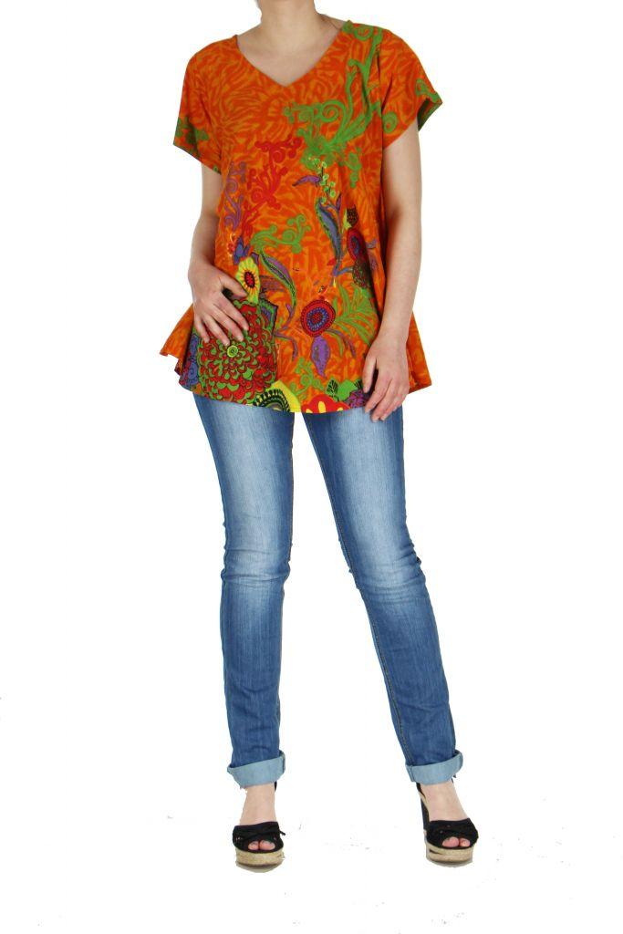 Top été coloré femme orange Pauline 267393