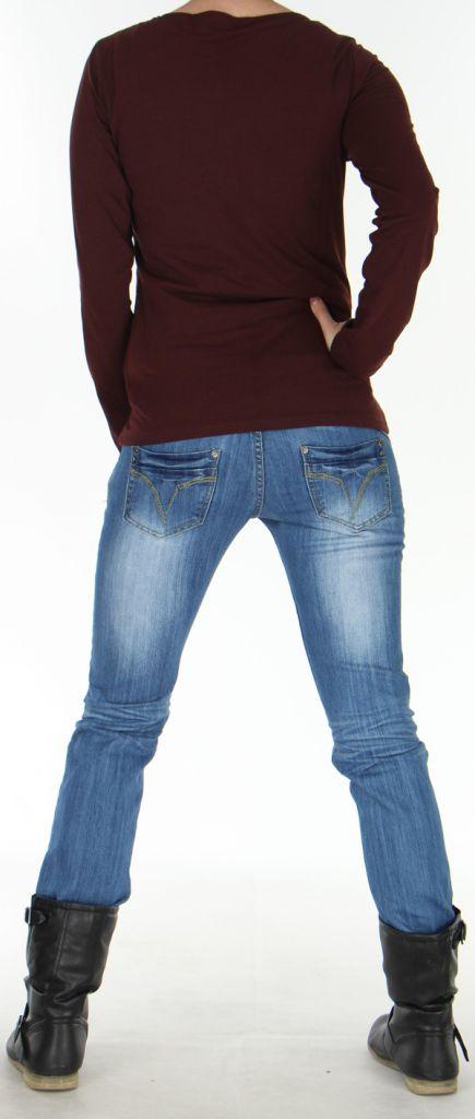 Top Femme Fashion et Original à manches longues Pachka Marron 277551