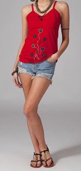 Top femme rouge à fines bretelles Kalia 269115