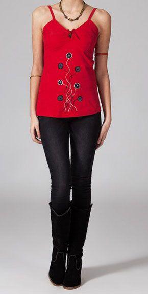 Top femme rouge à fines bretelles Kalia 269116