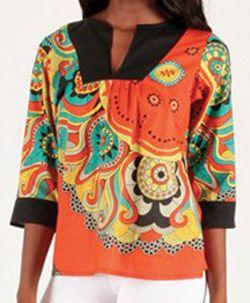 Top pour Femme à manches 3/4 Original et Coloré Kasok Orange 276709