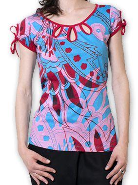 Top pour Femme à manches courtes Original et Coloré Bleu Azale 276813
