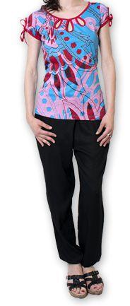 Top pour Femme à manches courtes Original et Coloré Bleu Azale 276814