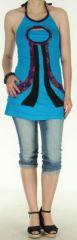 Top pour femme hyper original et ethnique Bleu Evasio 272236