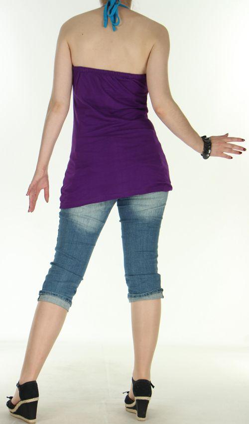 Top pour femme hyper original et ethnique violet Evasio 272239