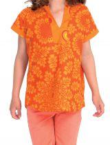 Top pour Fille col Mao Original et Ethnique Orange 280627