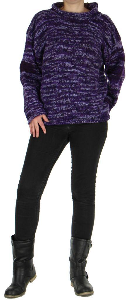tres beau pull mixte 100 laine pas cher violet taji. Black Bedroom Furniture Sets. Home Design Ideas