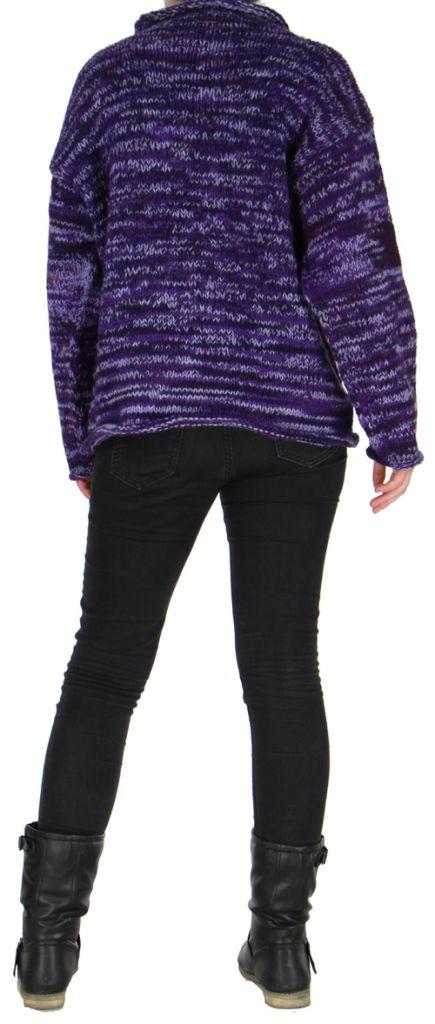 Tres beau pull mixte 100 laine pas cher violet taji for Beau miroir pas cher
