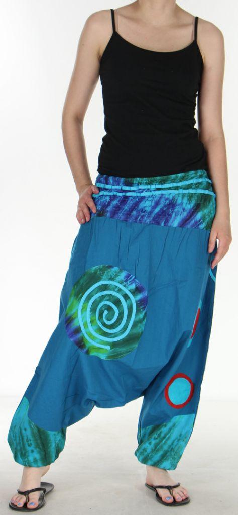 Très beau Sarouel femme original et coloré Bleu fonçé Ubwa 273145